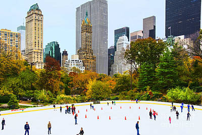 Wollman Rink Nyc In Autumn Poster by Regina Geoghan