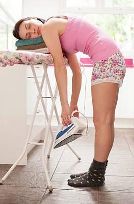 Woman Asleep On Ironing Board Poster by Ian Hooton