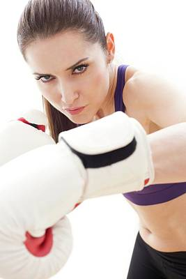 Woman Boxing Poster by Ian Hooton