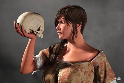 Woman Examining A Skull. Poster by Daniel Eskridge