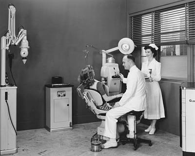 Woman In A Dentist�s Office Poster by Underwood Archives