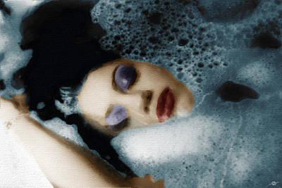 Woman In Bath Horizontal Poster by Tony Rubino