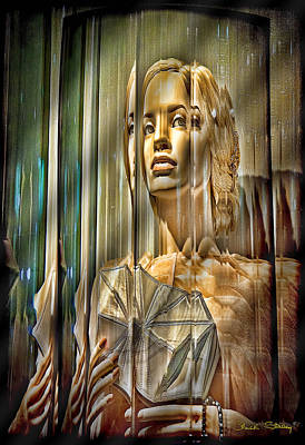 Woman In Glass Poster by Chuck Staley