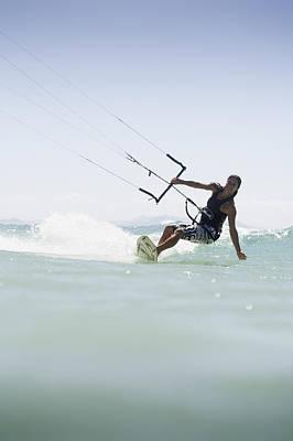 Woman Kitesurfing In Costa De La Luz Poster by Marcos Welsh