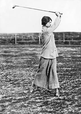 Woman Showing Golf Form Poster by Underwood Archives