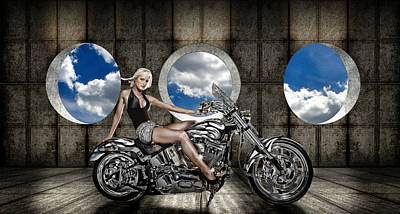 Woman Sitting On A Motorcycle Poster by Panoramic Images