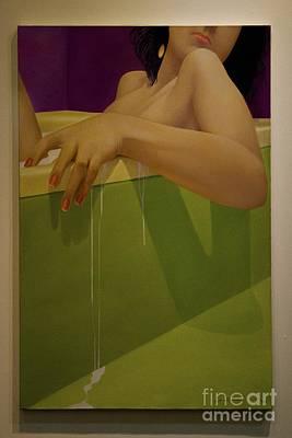 Woman Soaking In A Bathtub Poster by Al Bourassa