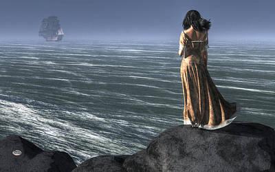 Woman Watching A Ship Sailing Away Poster by Daniel Eskridge