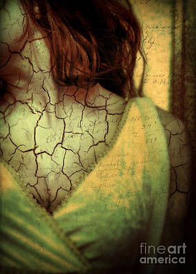 Woman With Cracks And Words Overlaid Poster by Jill Battaglia