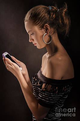 Woman With Smartphone Poster by Aleksey Tugolukov