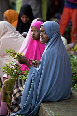 Women Selling Chat In The Harar Market Poster by Tony Camacho