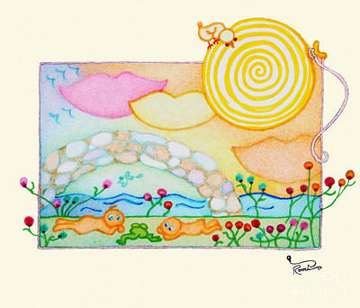 Woobies Character Baby Art Colorful Whimsical Flowers Floral Design By Romi Neilson Poster by Megan Duncanson