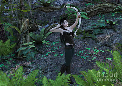 Wood Elf Archer Female In Woods Poster by Elle Arden Walby