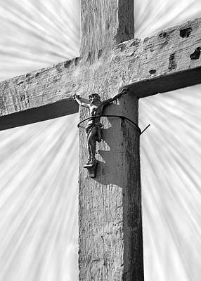 Wooden Cross With Jesus Poster by Donald  Erickson