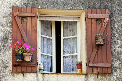 Wooden Shutters And Window To Home Poster by Brian Jannsen