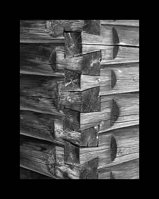 1875 Woodgrain Log Cabin Corner Study In  Black White Poster by Jack Pumphrey