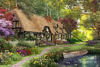 Woodland Walk Cottage Poster by Dominic Davison