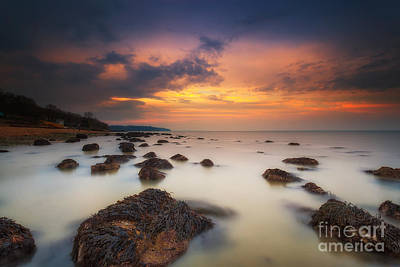 Woodside Beach Sunset Poster by English Landscapes