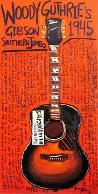 Woody Guthrie Gibson Sj Poster by Karl Haglund