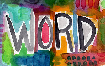 Word- Colorful Abstract Pop Art Poster by Linda Woods