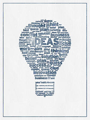 Words Ideas  -  Blue Ink Poster by Aged Pixel