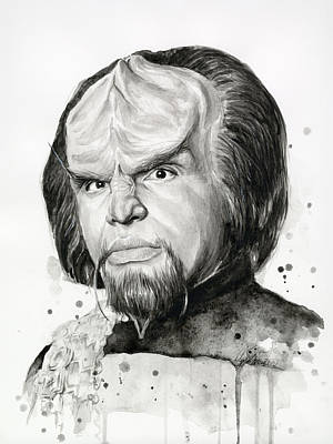 Worf Portrait Watercolor Star Trek Art Poster by Olga Shvartsur