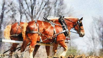 Work Horses In The Field Poster by Dan Sproul