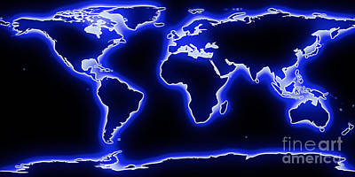 World Map Blue Glow Poster by Pixel Chimp