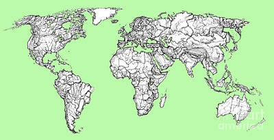 World Map In Pistachio Green Poster by Adendorff Design