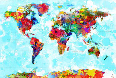 World Map Spattered Paint Poster by Gary Grayson