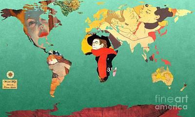 Toulouse-lautrec 1  World Map Poster by John Clark