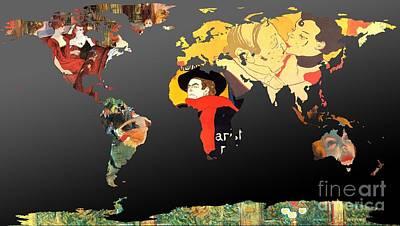 Toulouse-lautrec 2  World Map Poster by John Clark