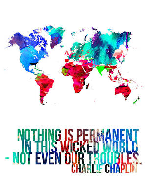 World Map With A Quote 3 Poster by Naxart Studio