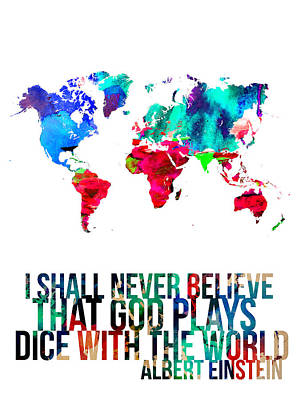 World Map With A Quote 4 Poster by Naxart Studio