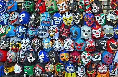 Wrestling Masks Of Lucha Libre Poster by Jim Fitzpatrick