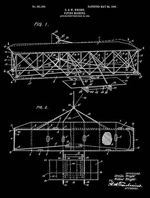 Wright Bros Airplane Design Poster by Dan Sproul