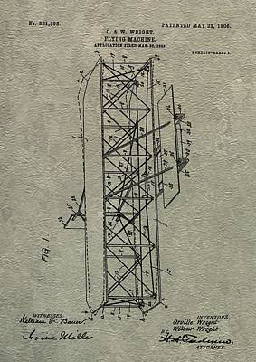 Wright Brothers Airplane Patent Poster by Dan Sproul