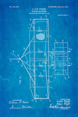 Wright Brothers Flying Machine Patent Art 2 1906 Blueprint Poster by Ian Monk