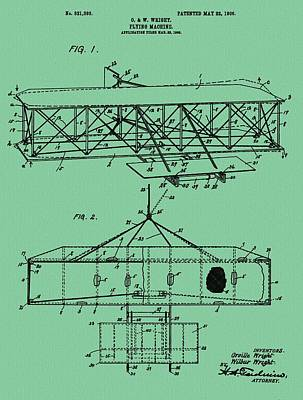 Wright Brothers Patent Green Poster by Dan Sproul