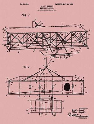 Wright Brothers Patent Red Poster by Dan Sproul