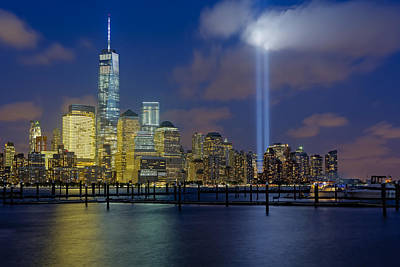 Wtc Tribute In Lights Nyc 1 Poster by Susan Candelario