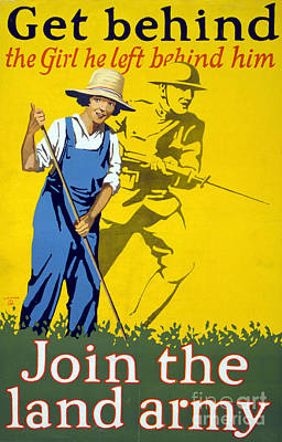 Wwi Join The Land Army 1918 Poster by Photo Researchers