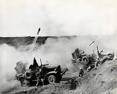 Wwii Usmc Rockets On Iwo Jima Poster by Historic Image