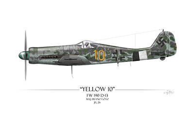 Yellow 10 Focke-wulf Fw190d - White Background Poster by Craig Tinder
