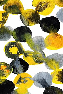 Yellow And Gray Interactions 7 Poster by Amy Vangsgard