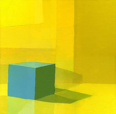 Yellow  Blue Oil On Canvas Poster by Daniel Cacouault