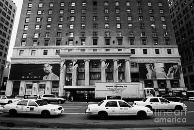 Yellow Cabs Go Past Pennsylvania Hotel On 7th Avenue New York City Usa Poster by Joe Fox
