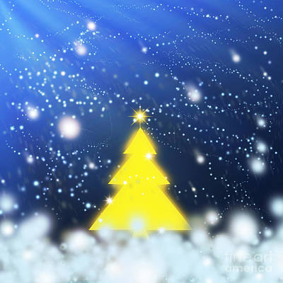 Yellow Christmas Tree Poster by Atiketta Sangasaeng