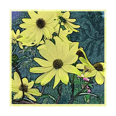 Yellow Flowers Of October Poster by Valerie Drake Lesiak