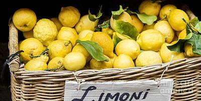 Yellow Lemons In Basket On Market Poster by Patricia Hofmeester